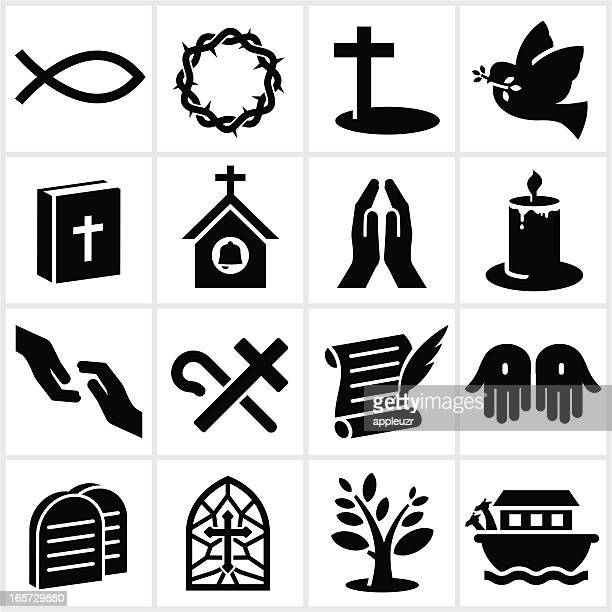 black christianity icons - christianity stock illustrations