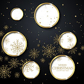 Black christmas background with golden snowflakes and circles. Vector design Happy New Year