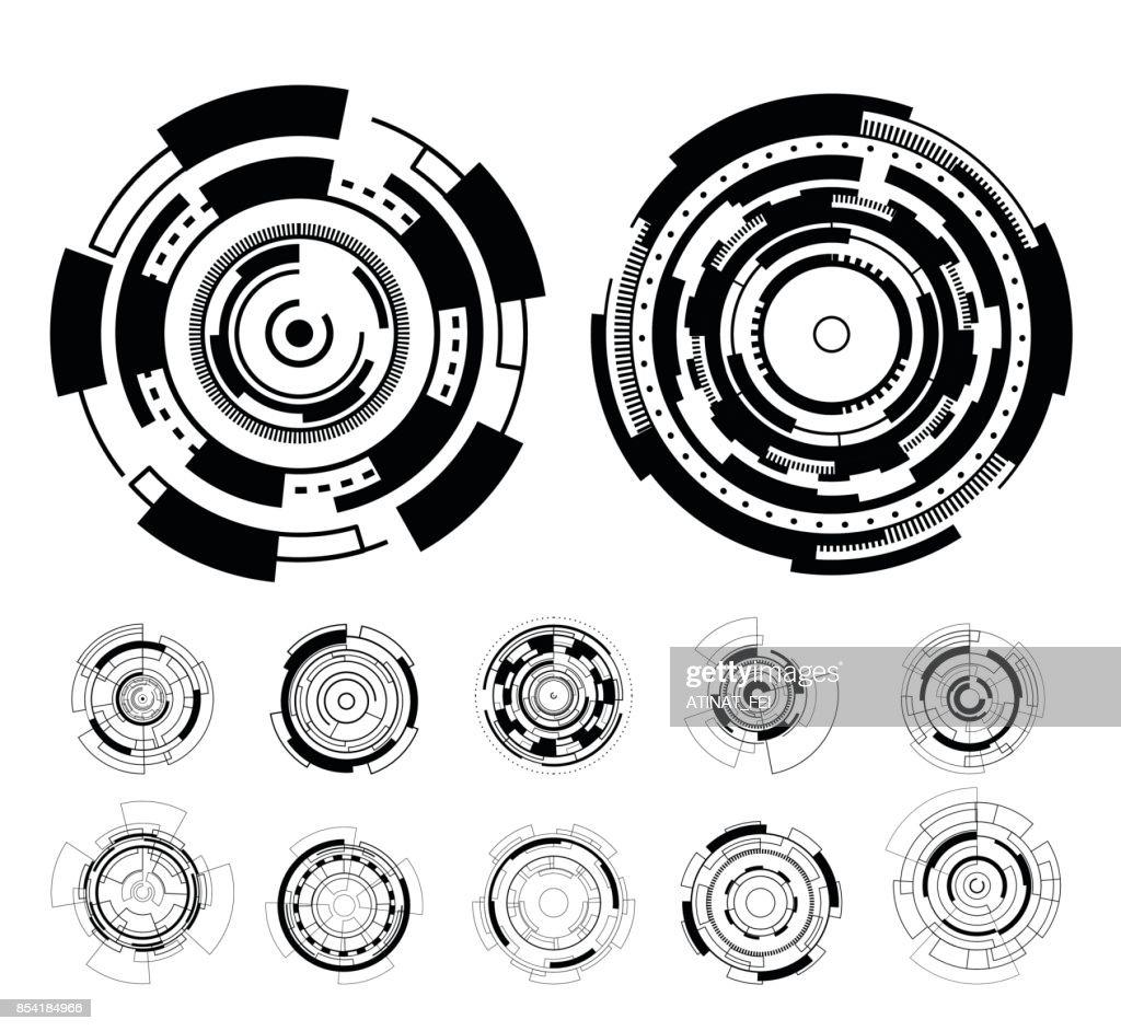 Black circle futuristic interface technology hud vector design.