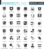 Black classic dental web icons set.