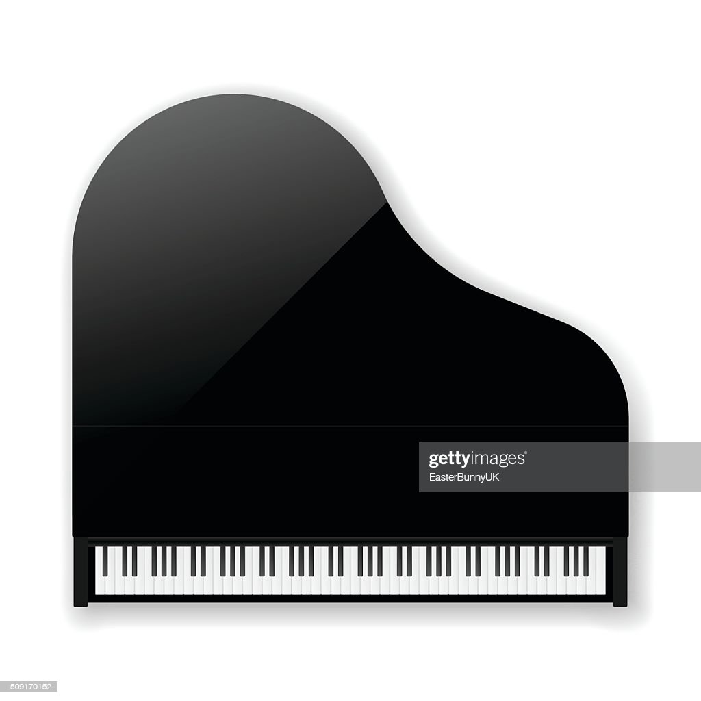 Black Classic Grand Piano. Vector