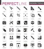 Black classic graphic design tools icons set.