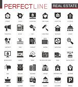 Black classic Real estate icons set for web.