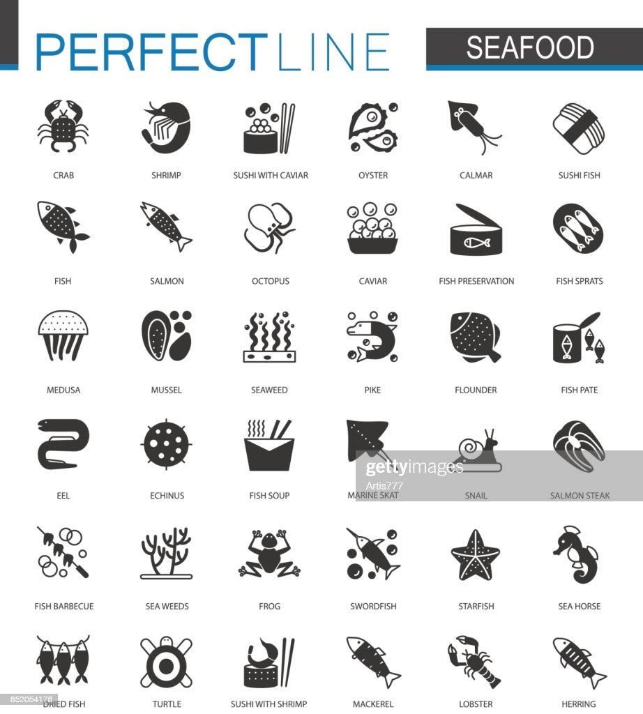 Black classic Seafood icons set. Sea food illustrations.
