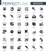 Black classic Seafood icons set. Sea food illustrations.