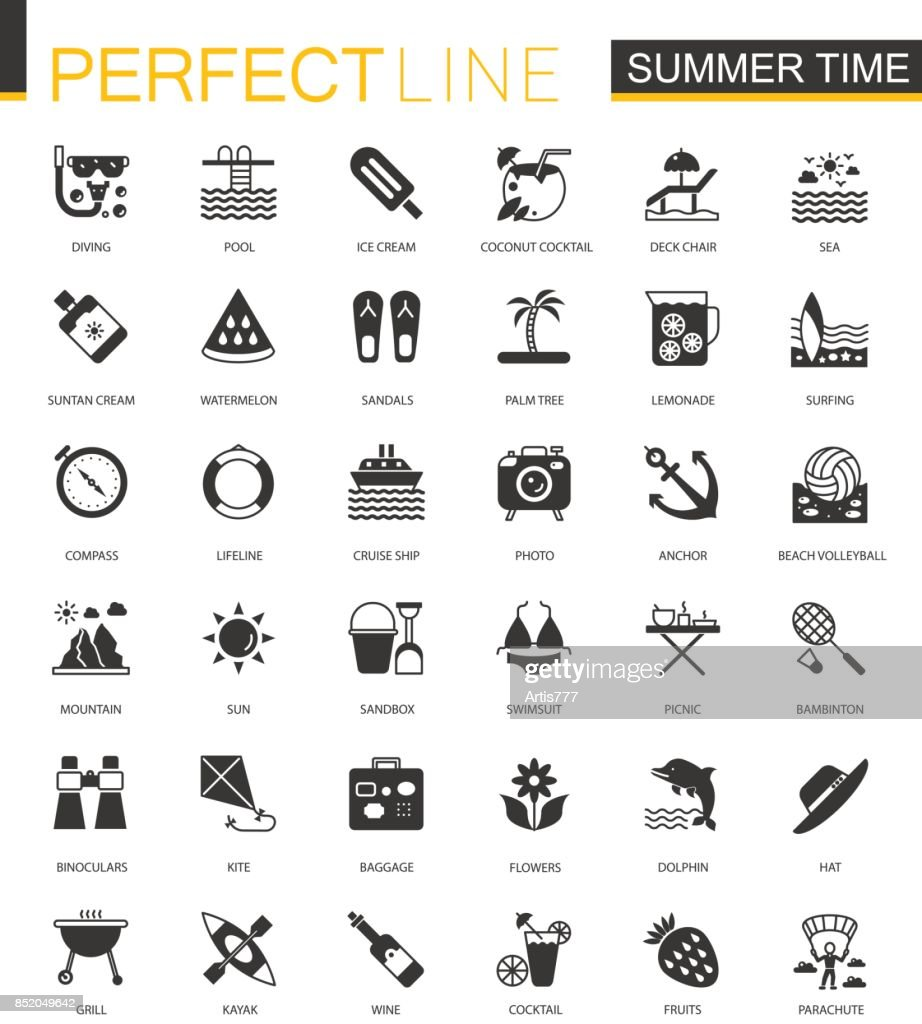Black classic summer time, vacation activity icons set