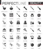 Black classic web icons set. Beauty and cosmetics. Body skin care.