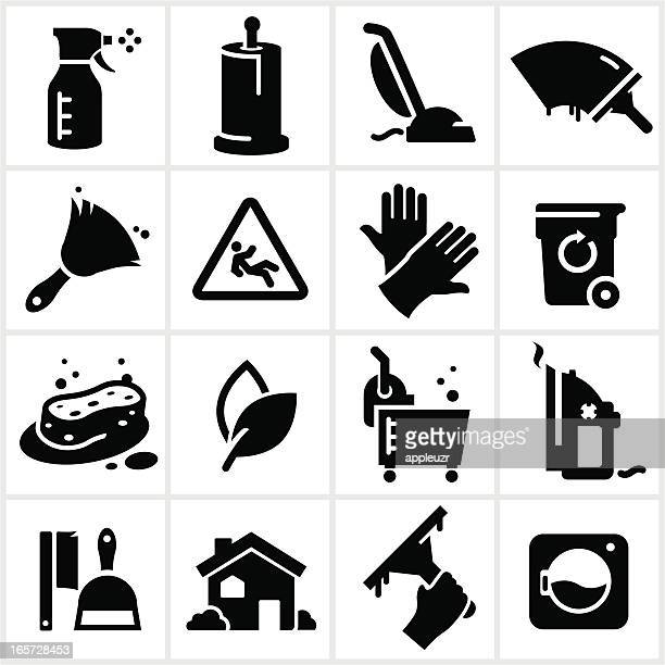 black cleaning icons - paper towel stock illustrations, clip art, cartoons, & icons