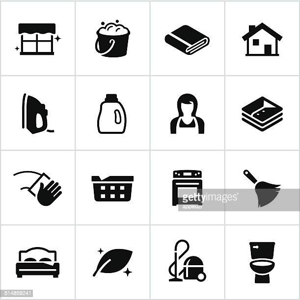 Black Cleaning Icons