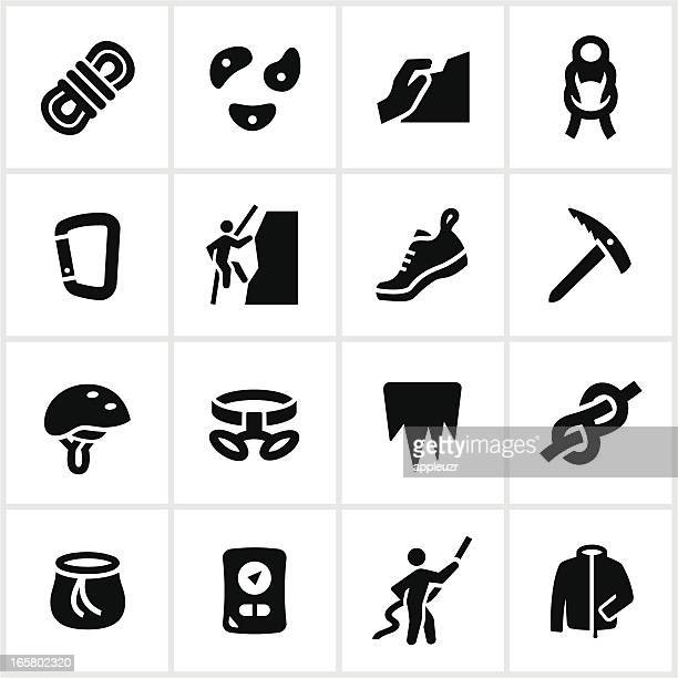 black climbing icons - safety harness stock illustrations
