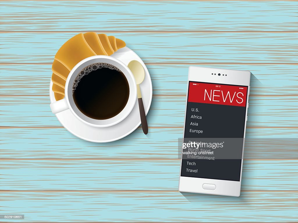 Black coffee and Smart Phone on vintage table