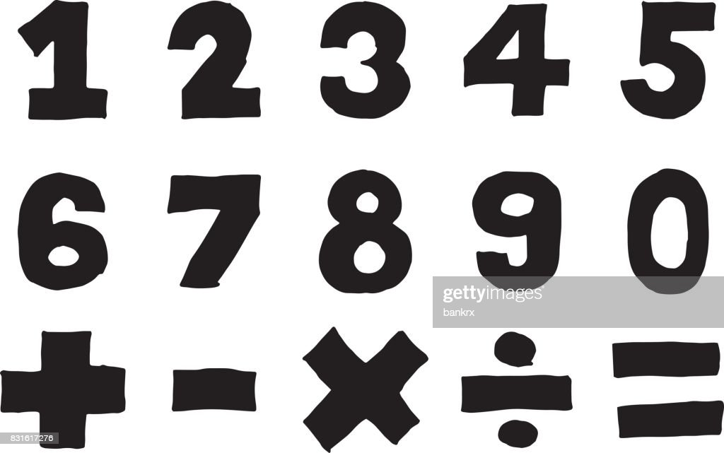 Black Color Hand Drawing Of Number And Mathematics Symbol On White