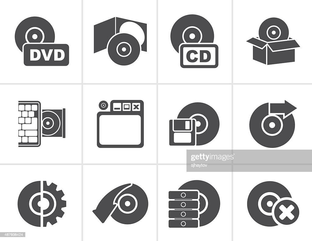 Black Computer Media and disk Icons
