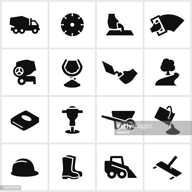 black concrete work icons - pouring stock illustrations, clip art, cartoons, & icons