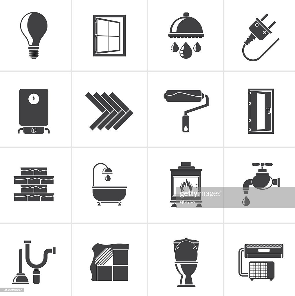 Black Construction and home renovation icons