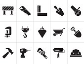 Black Construction industry and Tools icons