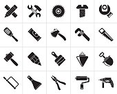 Black Construction tools object icons
