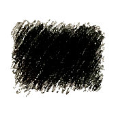 Black crayon scribble texture stain isolated on white background