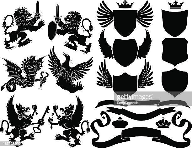 black crest elements - griffin stock illustrations, clip art, cartoons, & icons