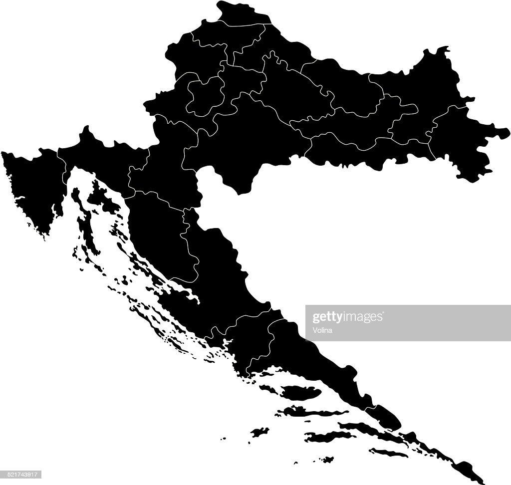 Black Croatia Map Vector Art   Getty Images