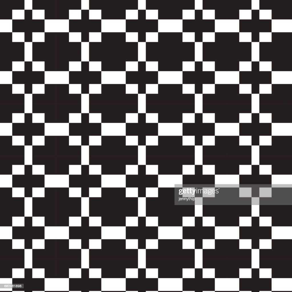 black cross on white square pattern background