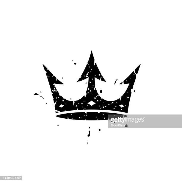 black crown grunge - graphic t shirt stock illustrations