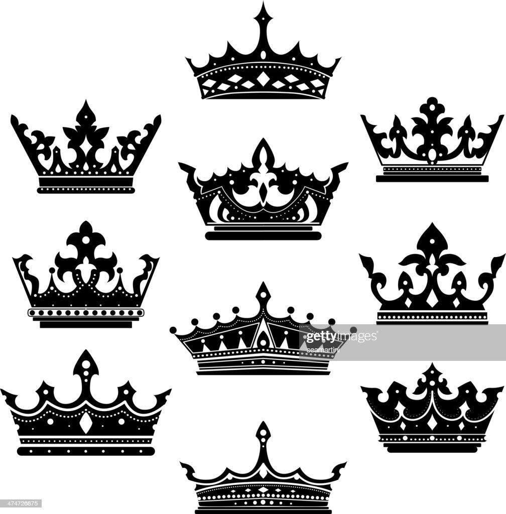 Black crowns set for heraldry design