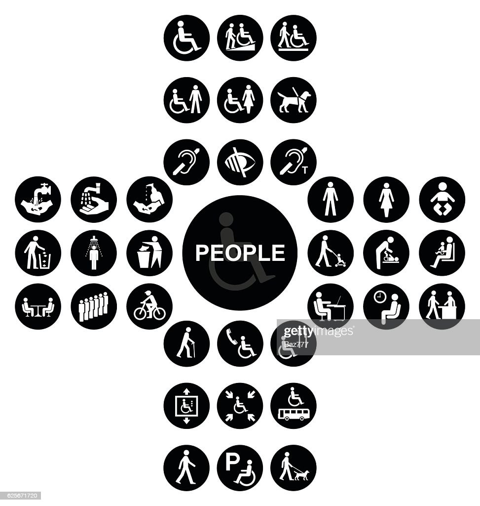 Black cruciform disability and people Icon collection