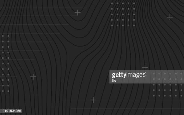 stockillustraties, clipart, cartoons en iconen met zwarte donkere abstracte topografische lijnen achtergrond - contourlijn