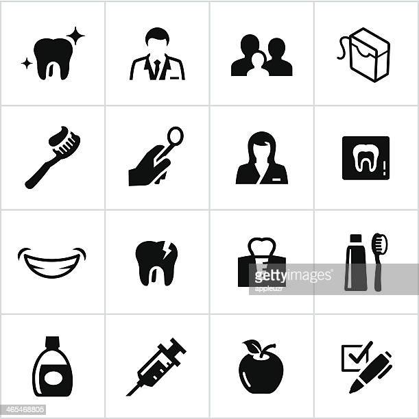 black dentist icons - dental floss stock illustrations
