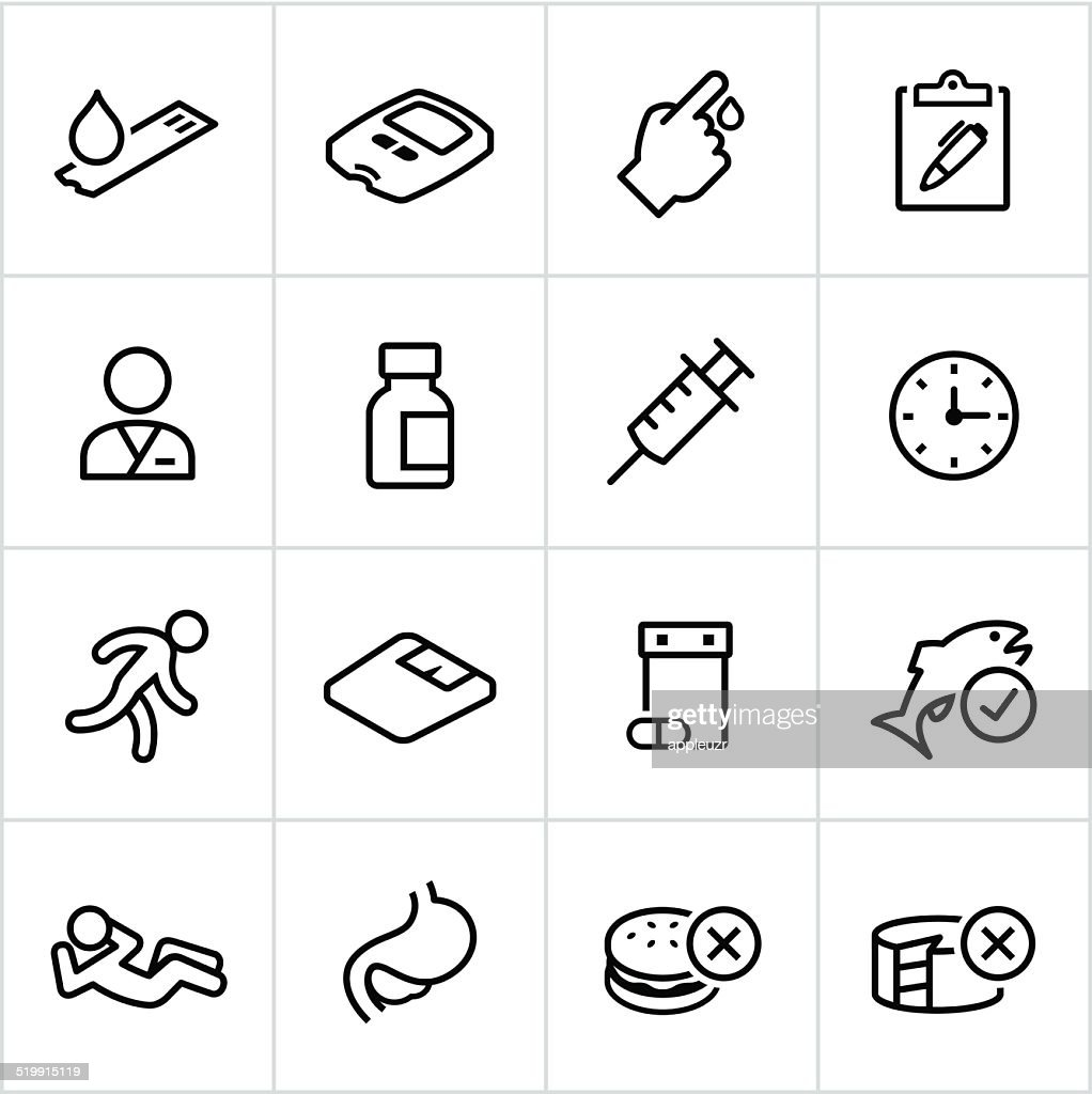 Black Diabetes Icons - Line Style : Stock Illustration