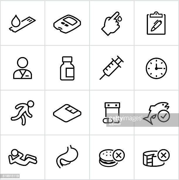 black diabetes icons - line style - blood test stock illustrations, clip art, cartoons, & icons
