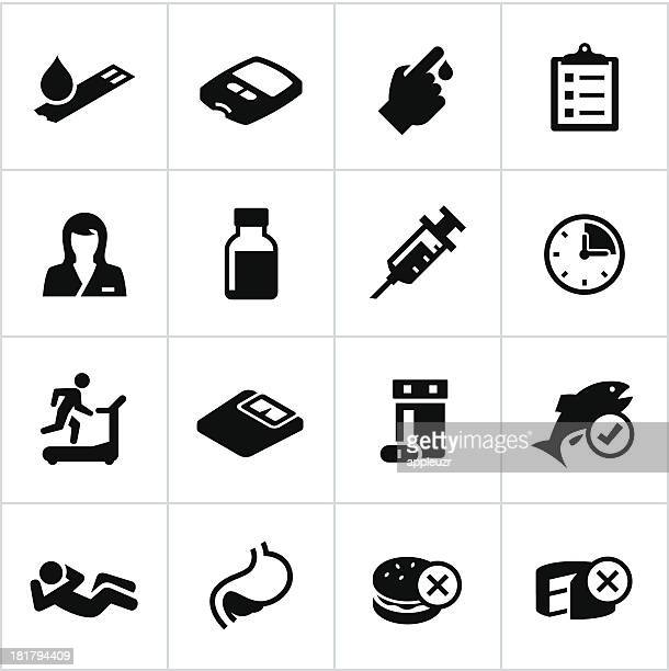ilustraciones, imágenes clip art, dibujos animados e iconos de stock de diabetes iconos negro - diabetes