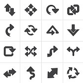 Black different kind of arrows icons