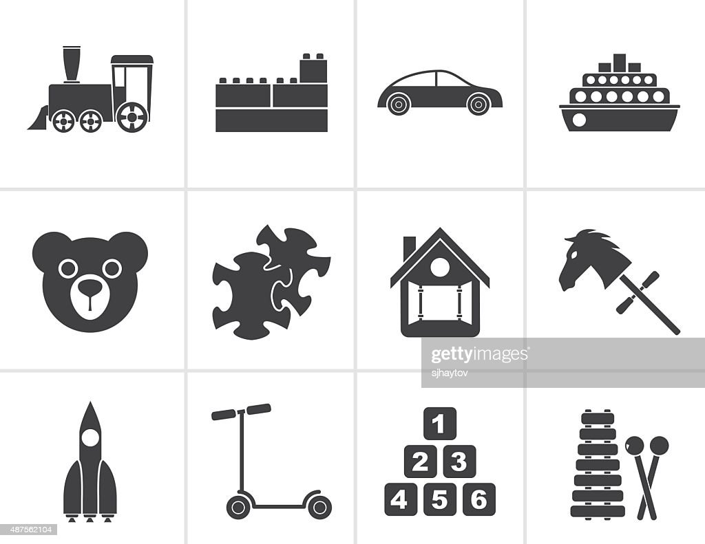 Black Different Kinds of Toys Icons