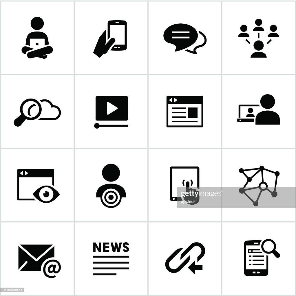 Black Digital Marketing Icons : stock illustration