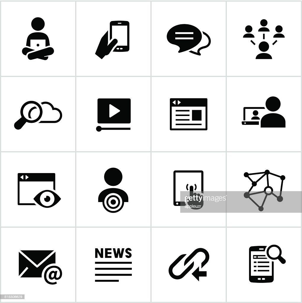 Black Digital Marketing Icons