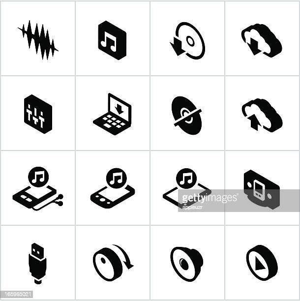 black digital music icons - volume knob stock illustrations, clip art, cartoons, & icons