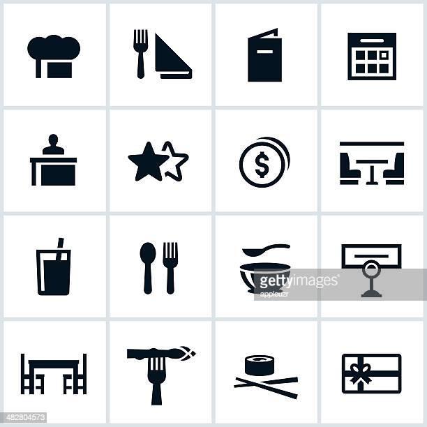 ilustraciones, imágenes clip art, dibujos animados e iconos de stock de negro iconos de comedor - mesa de comedor