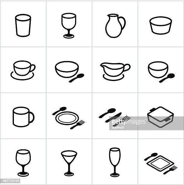 black dishes icons - soup bowl stock illustrations