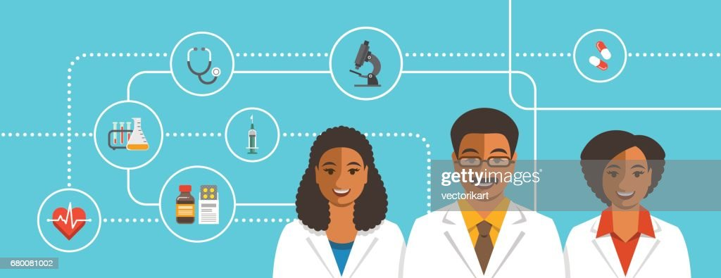Black doctors team with medical icons