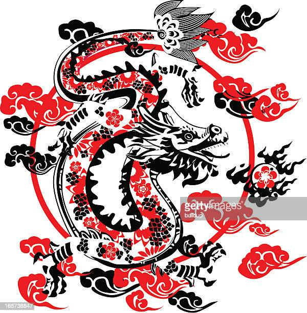 black dragon - animal scale stock illustrations, clip art, cartoons, & icons
