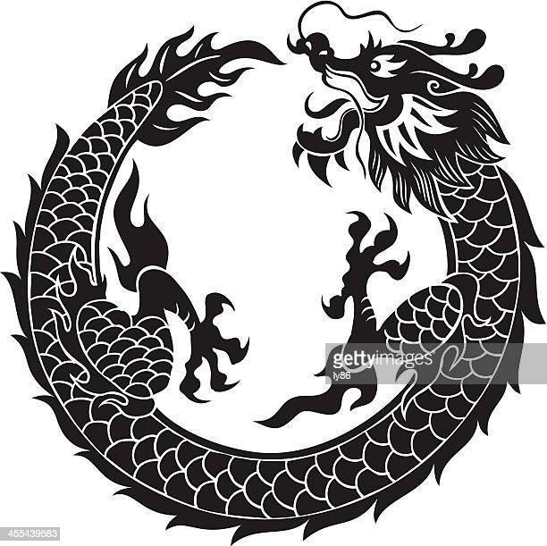 black dragon - chinese dragon stock illustrations