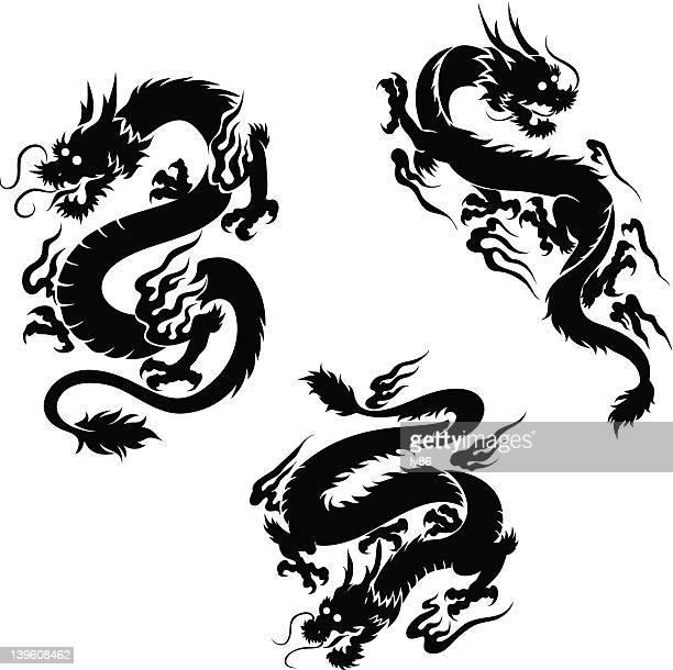 black dragons - chinese dragon stock illustrations