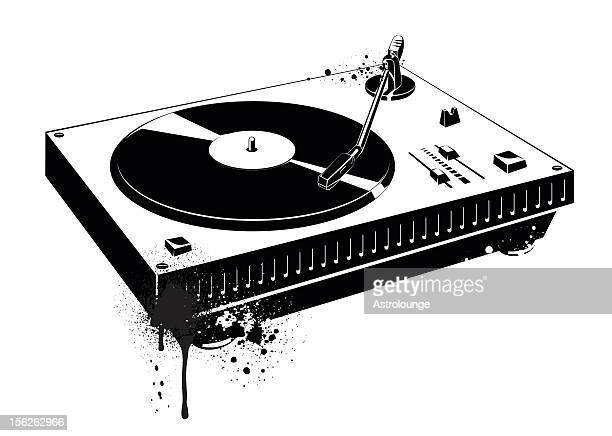A black drawing of a record turntable
