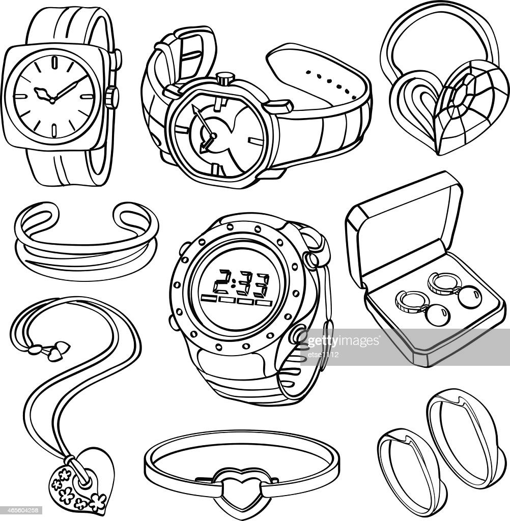 Black drawn pictures of jewelry and watches on a white back
