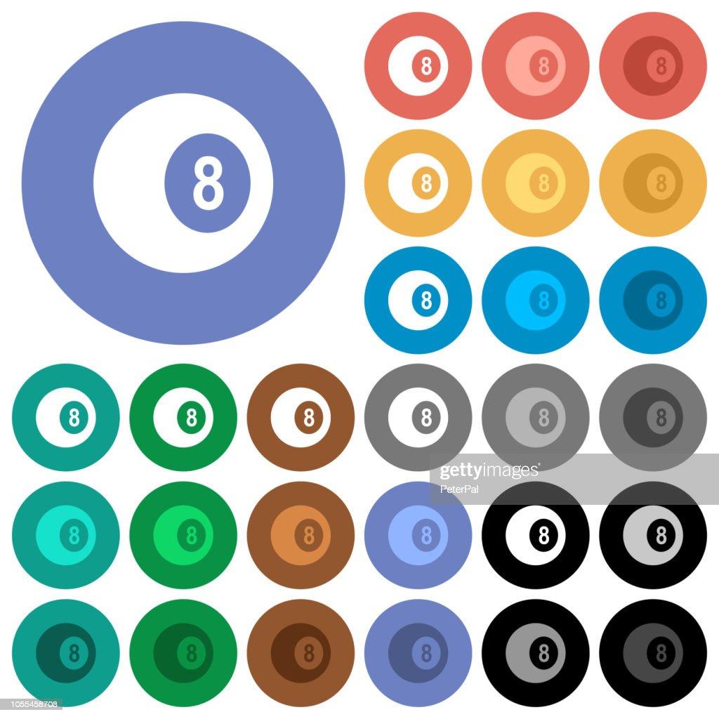 Black eight billiard ball round flat multi colored icons