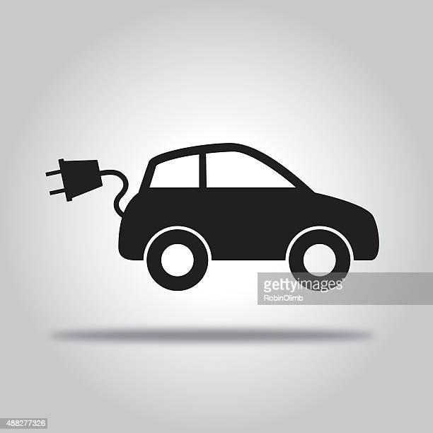 black electric car - electric car stock illustrations, clip art, cartoons, & icons