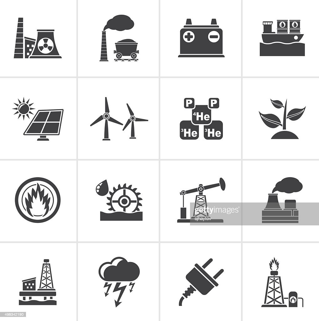 Black Electricity and Energy source icons