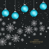 Black elegant background with snowflakes and christmas balls